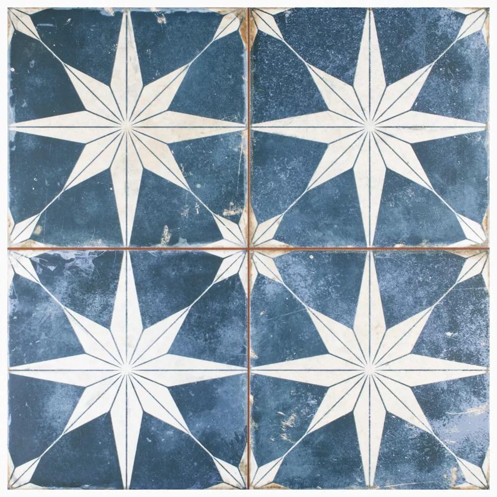 sample kings star encaustic 9 5 8 in x 9 5 8 in sky ceramic floor and wall tile