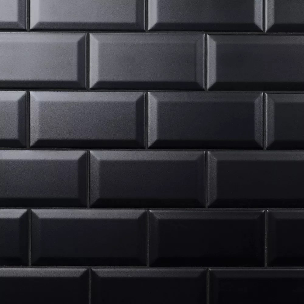 crown heights beveled matte 3 inch x6 inch black ceramic wall tile 6 03 sq ft case