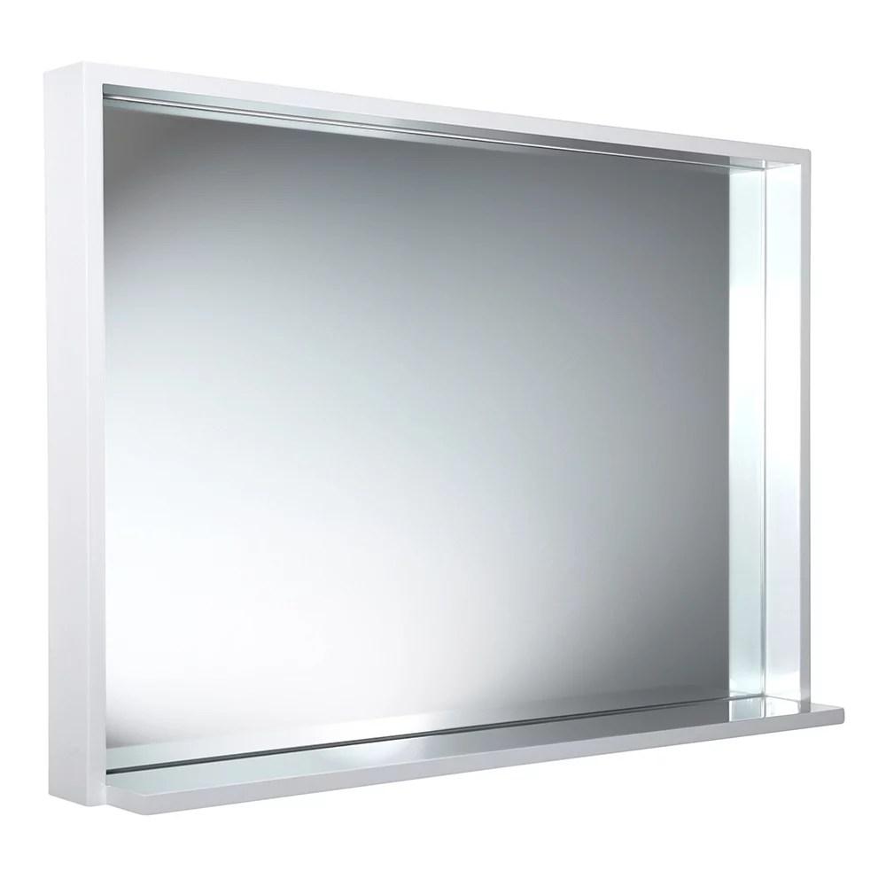 allier miroir mural encadre 39 po l x 31 50 po h avec tablette en blanc