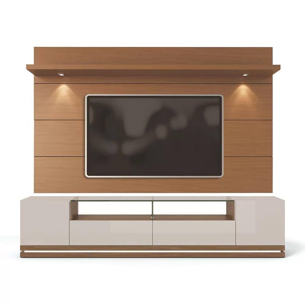 vanderbilt meuble tv et panneau tv mural flottant cabrini 2 2 en blanc casse et creme d erable