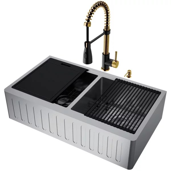 double bowl stainless steel farmhouse kitchen sink and faucet in matte brushed gold and matte black