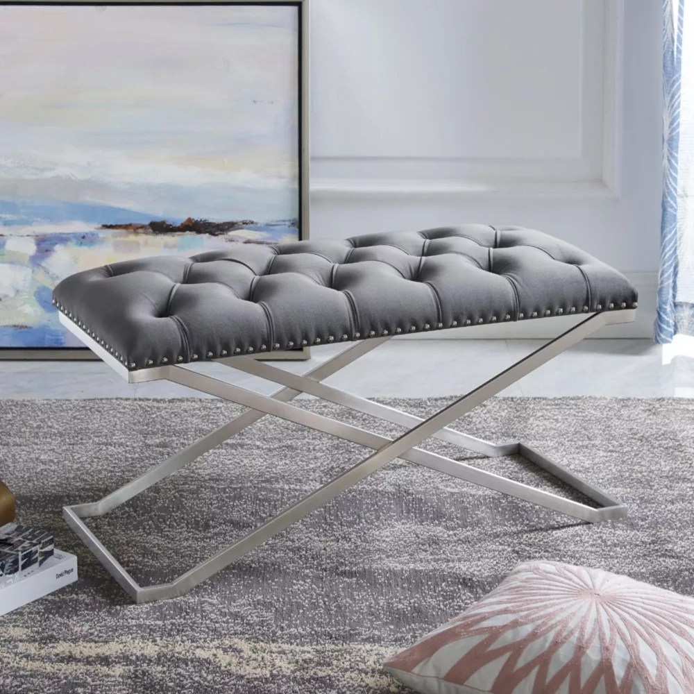 imperial tufted double bench with silver x base gray