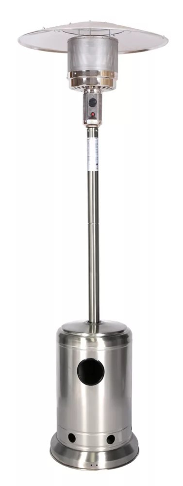 87 inch outdoor propane patio heater in stainless steel finish