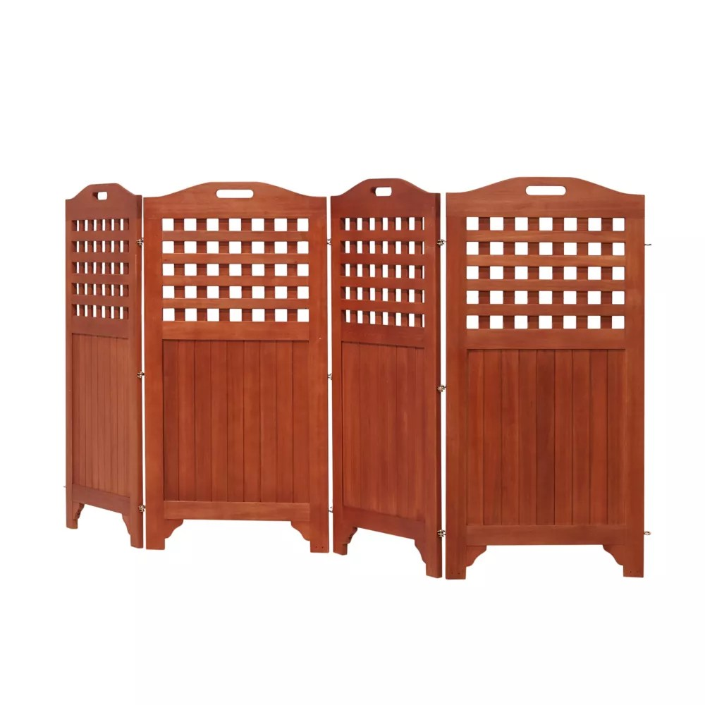 malibu outdoor wood privacy screen with 4 panels 46