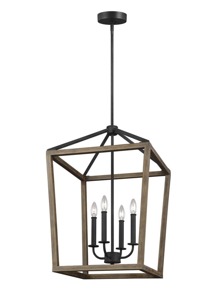 gannet 18 in w 4 light weathered oak wood and antique forged iron chandelier