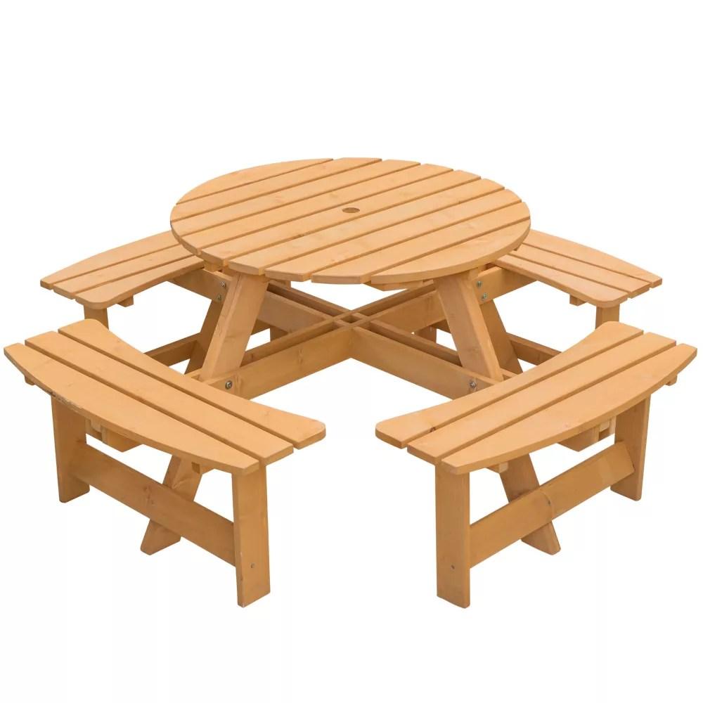 round jardin patio exterieur en bois table pique nique avec banc 8 personne stained