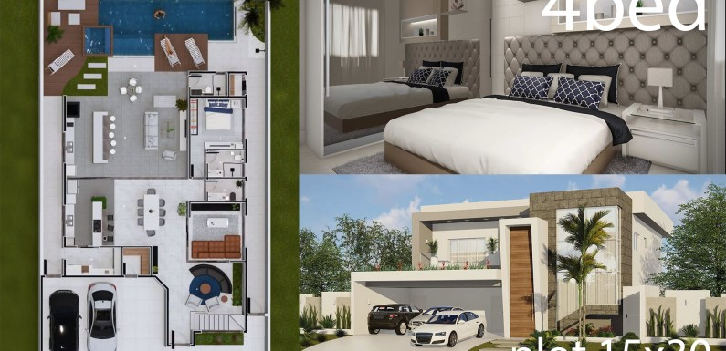 4 Bedrooms Home Design 15x30m