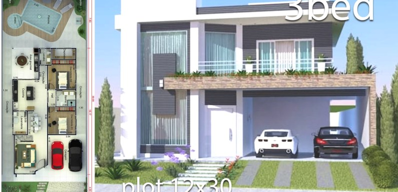 Home Design 12×30 Meters 3 Bedrooms