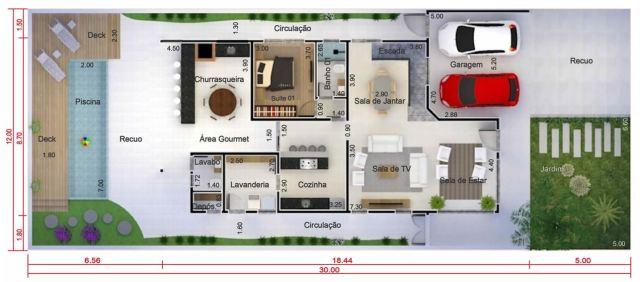Home Design 12x30 Meters 4 Bedrooms - Home Ideas
