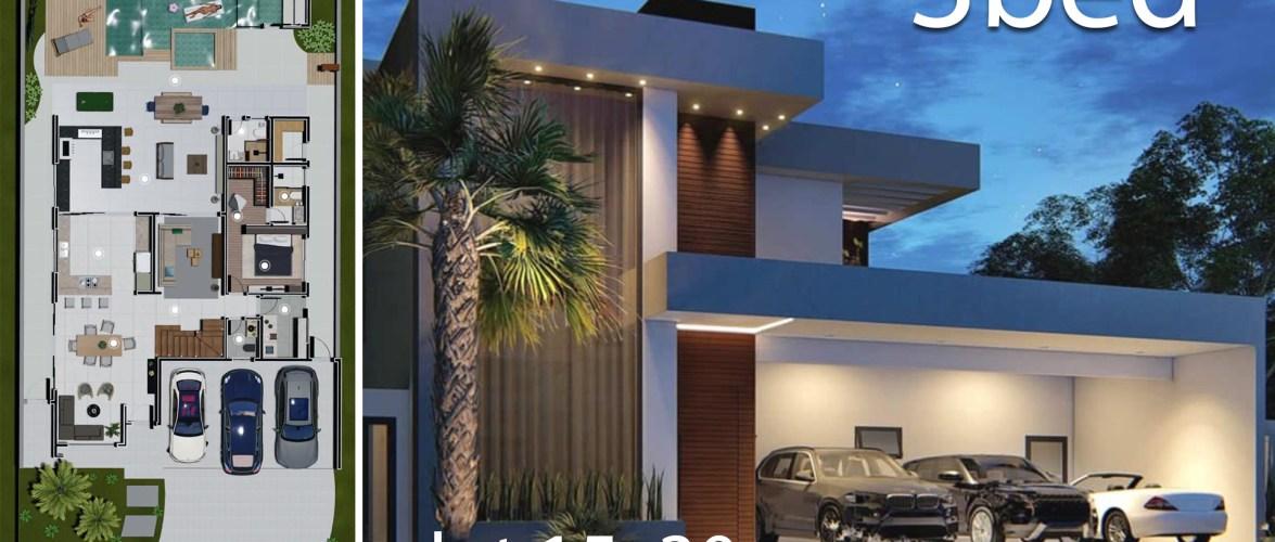 Home Design 15×30 Meters 3 Bedrooms