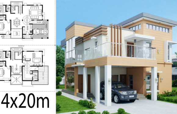 Home Design Plan 14x20m with 5 Bedrooms