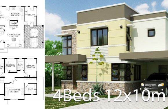 Home Design plan 12x10m with 4 bedrooms