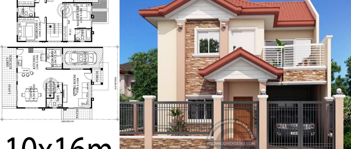 Home design 10x16m 4 Bedrooms