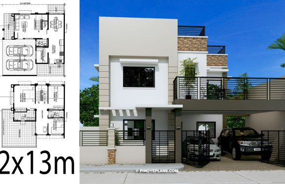 Home design 12x13m with 4 Bedrooms