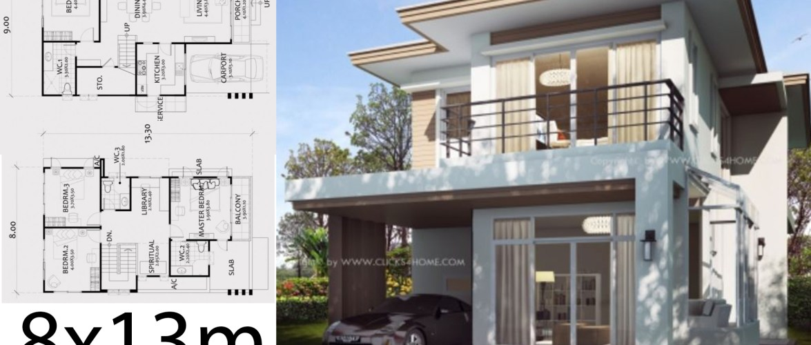 Home Design Plan 8x13m with 4 Bedrooms.