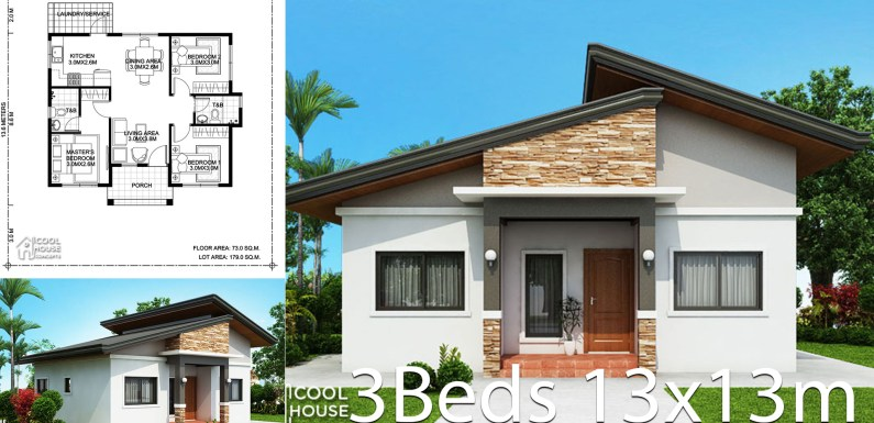 Home design Plan 13x13m with 3 bedrooms