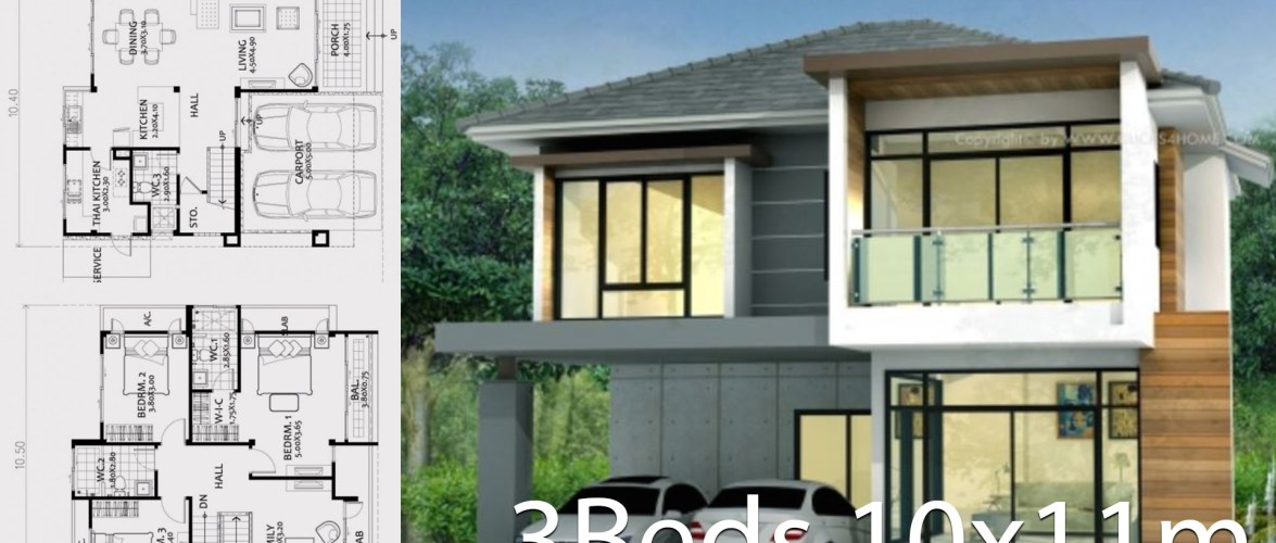 Home design plan 10x11m with 3 bedrooms