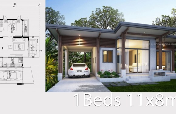 Home design plan 11x8m with One Bedroom
