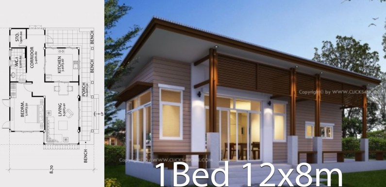 Home design plan 12x8m with One bedroom