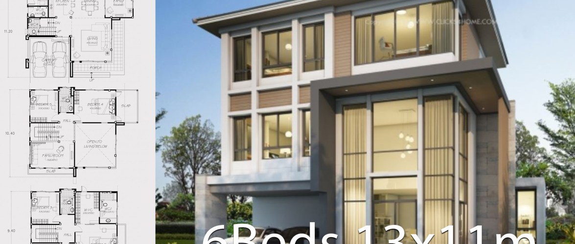 Home design plan 13x11m with 6 bedrooms