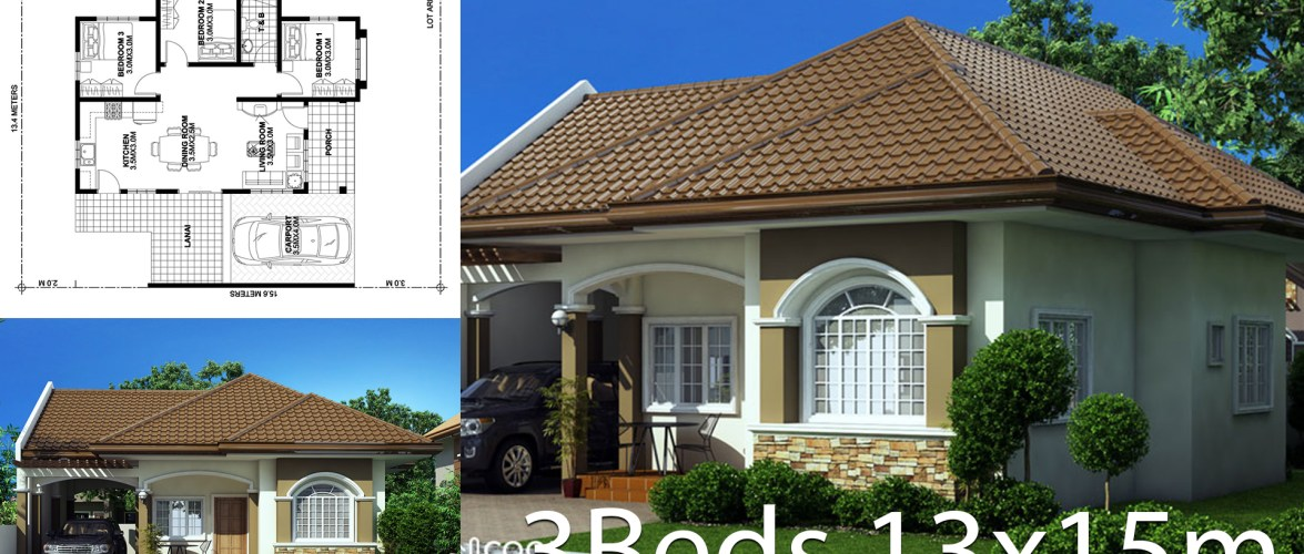 Home design plan 13x15m with 3 bedrooms