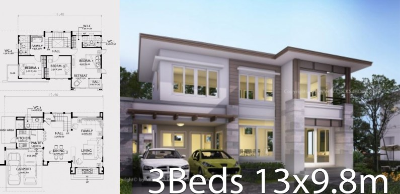 Home design plan 13×9.8m with 3 bedrooms