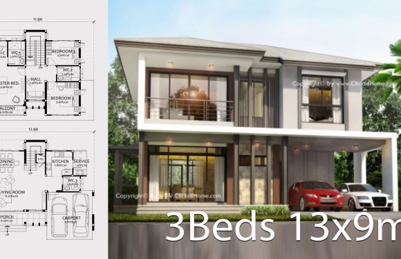 Home design plan 13x9m with 3 bedrooms