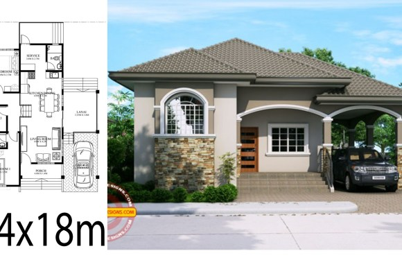 Home design plan 14x18m with 3 Bedrooms