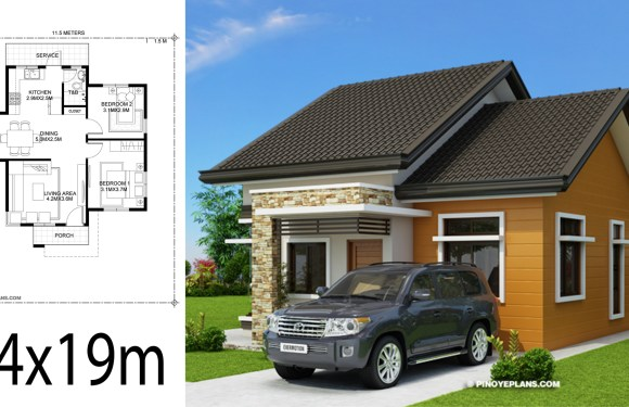 Home design plan 14x19m with 2 Bedrooms