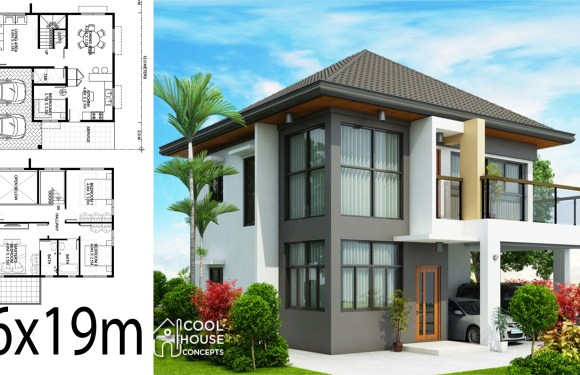 Home design plan 16x19m with 4 Bedrooms