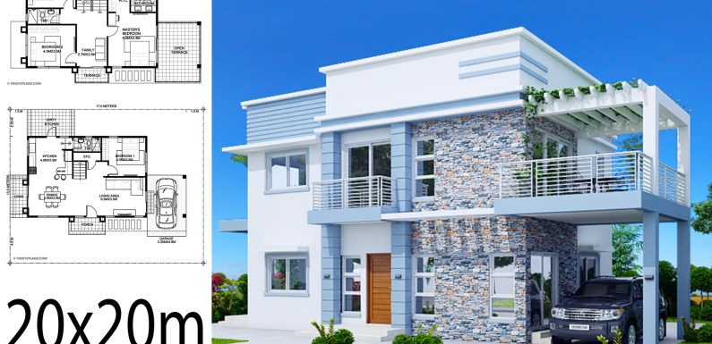 Home design plan 20x20m with 4 Bedrooms