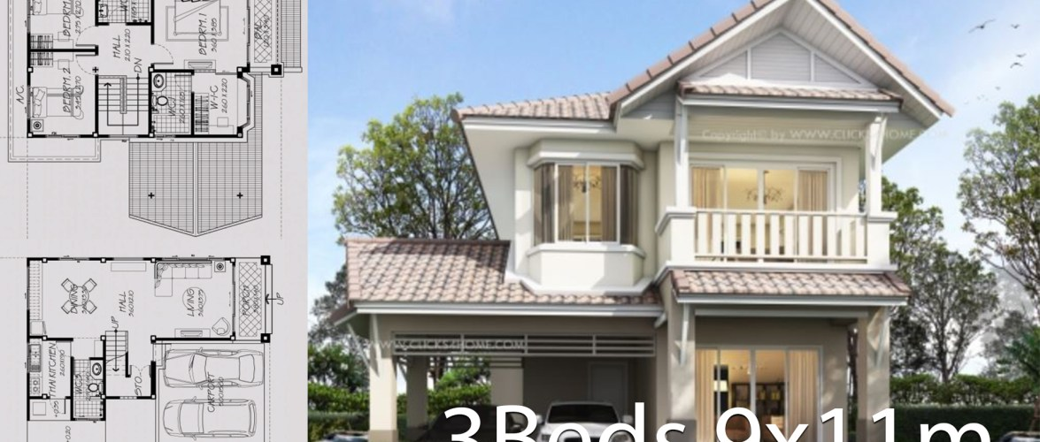 Home design plan 9x11m with 3 Bedrooms