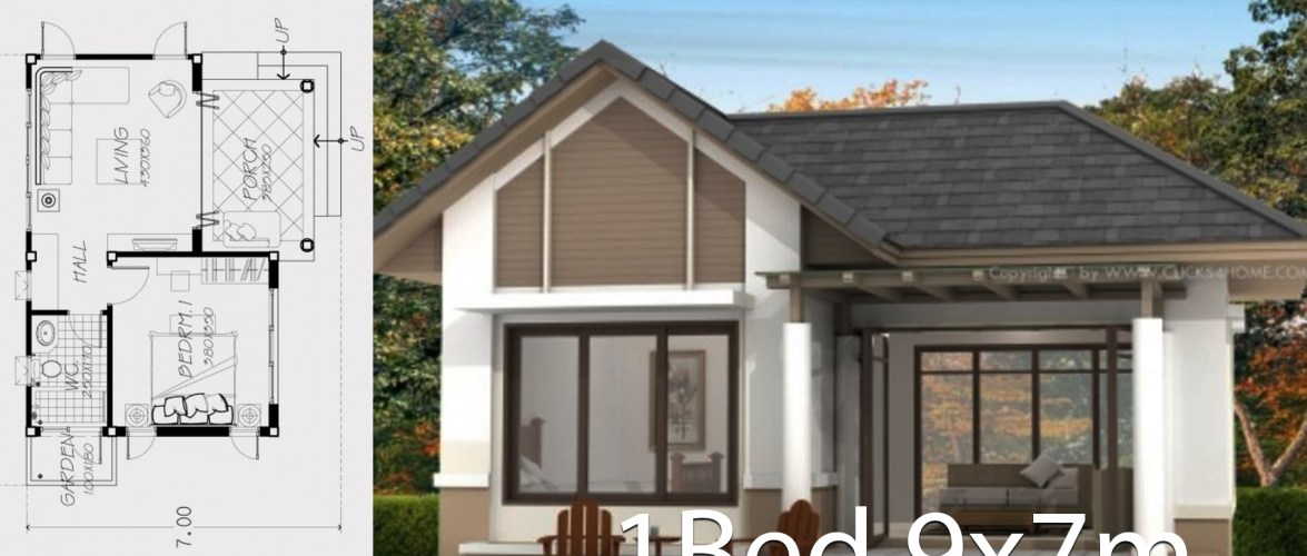 Home design plan 9x7m with one bedroom