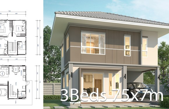 House design 7.5x7m with 3 bedrooms