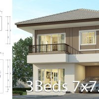 House design plan 7x7.5m with 3 bedrooms