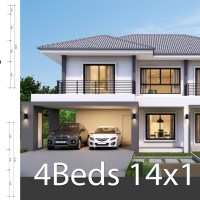 House design plan 14x11.5m with 4 bedrooms