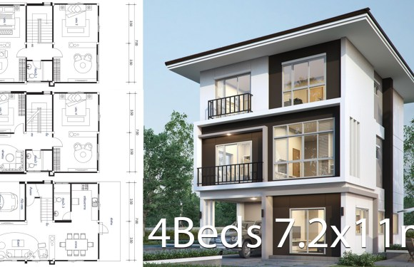 House design plan 7.2x11m with 4 bedrooms