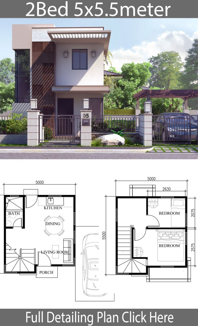 Small Home Design Plan 5x5.5m with 2 Bedrooms - Home Ideas