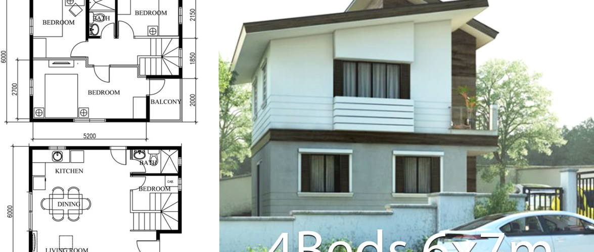 Small Home Design Plan 6x7m with 4 Bedrooms