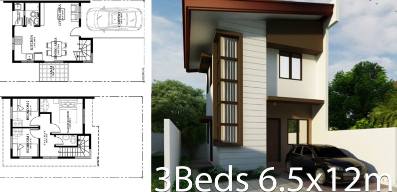 Small Home design plan 6.5mx12m with 3 Bedrooms