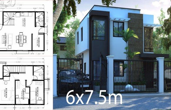 Small Home design plan 6×7.5m with 4 Bedrooms