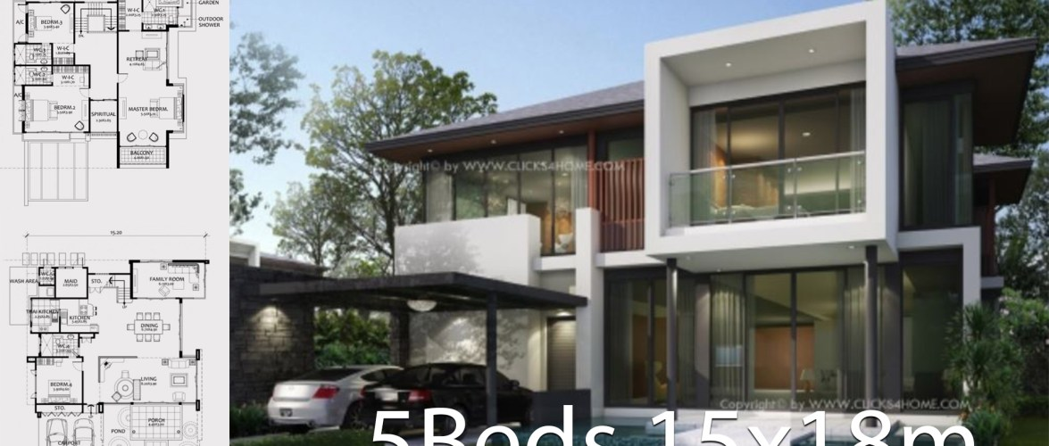 Home design plan 15x18m with 5 bedrooms