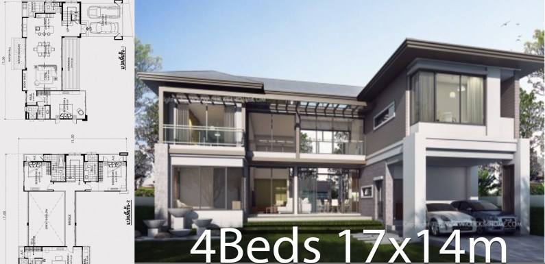 Home design plan 17x14m with 4 bedrooms