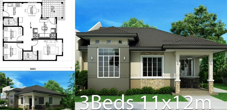 House design 11x12m with 3 bedrooms