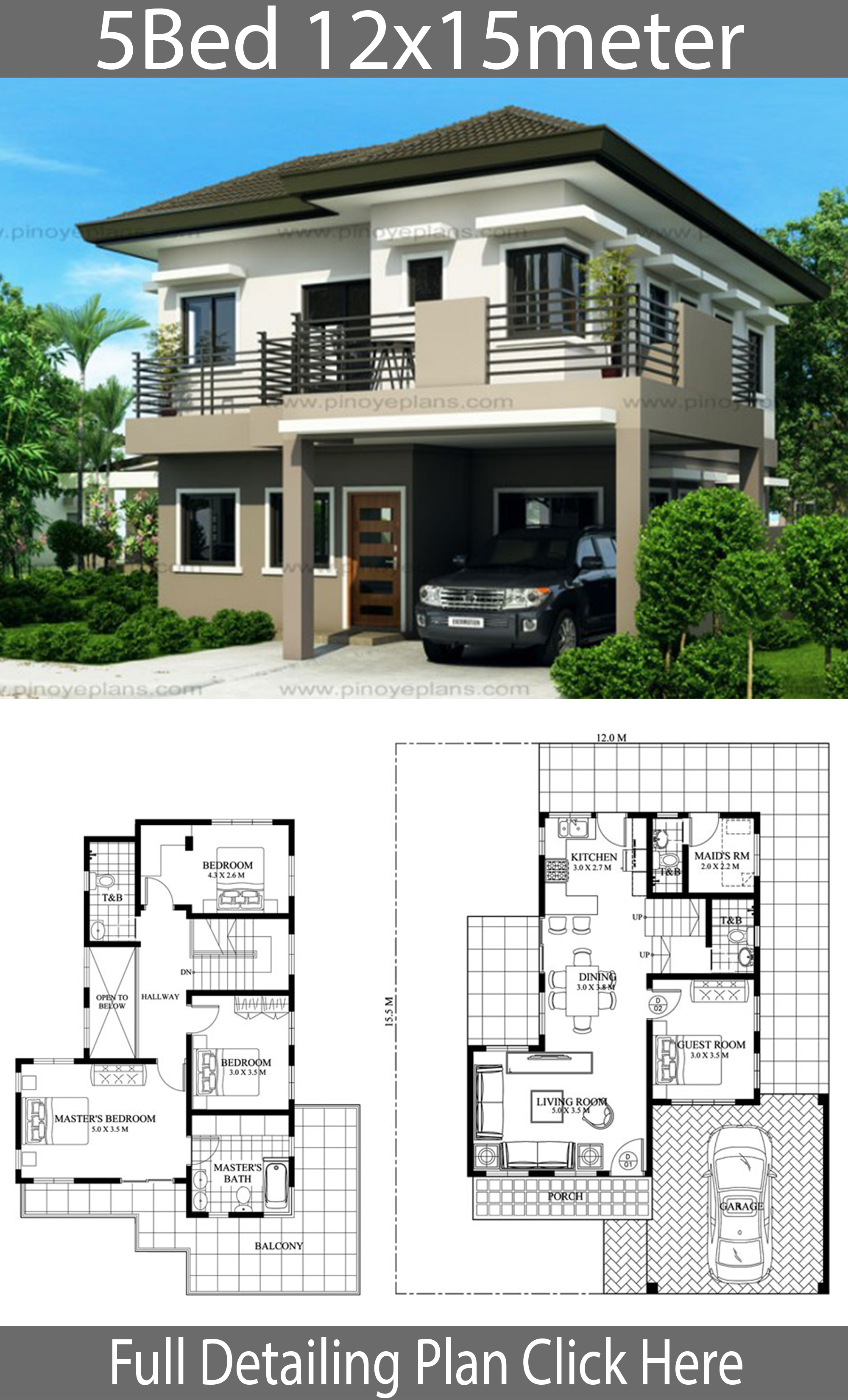 House Design 12x15m With 5 Bedrooms