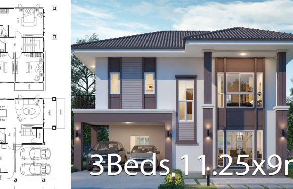 House design plan 11.25x9m with 3 bedrooms