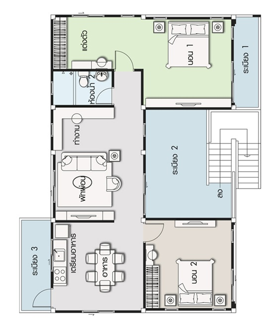 House design plan 13x9.5m with 2 bedrooms