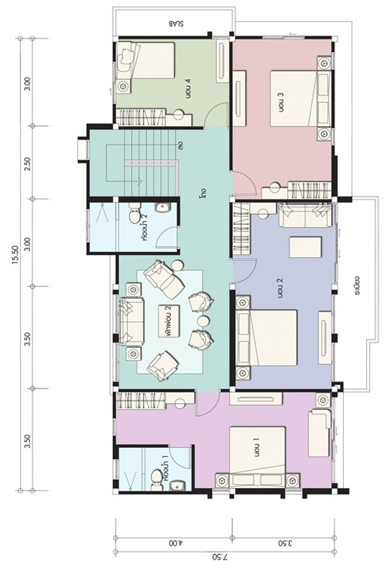 House design plan 15.5x7.5m with 5 bedrooms