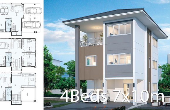 House design plan 7x10m with 4 bedrooms