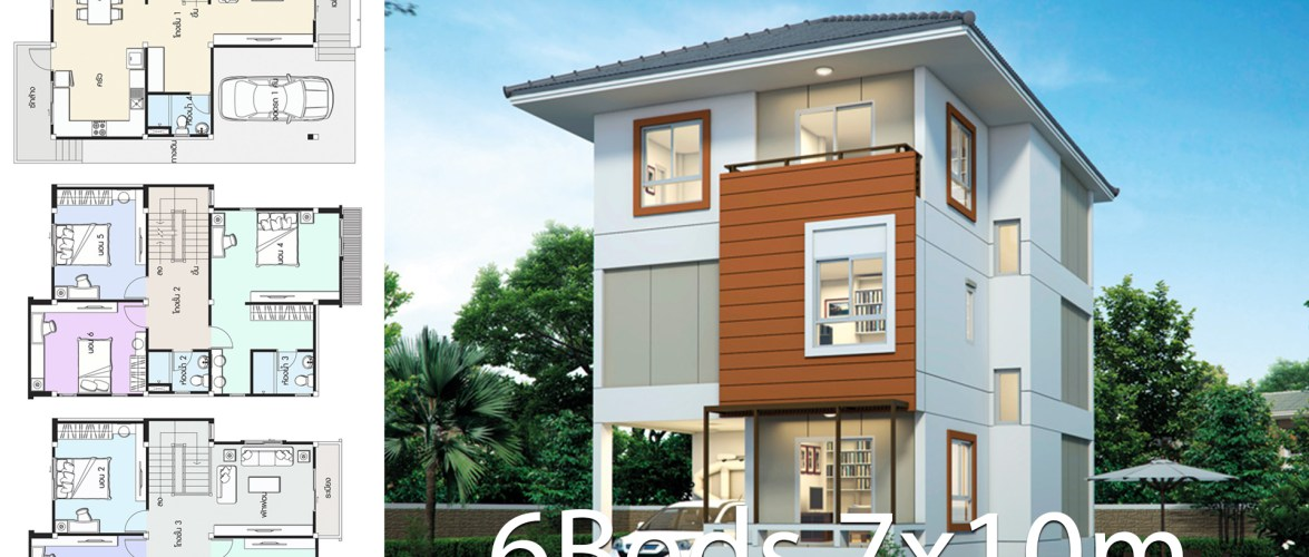 House design plan 7x10m with 6 bedrooms